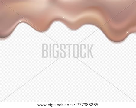 Vector Gradient Gold Liquid Smooth Border Template. Gold Rose Foil Drip Pattern Isolated On Transpar