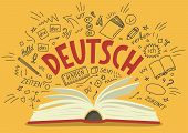 "Deutsch. Translation: ""German"". German language hand drawn doodles and lettering. Language education illustration. poster"