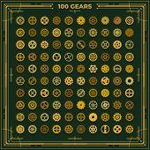 Steampunk gears set victorian era vintage design style clockwork illustration metal cogs elements on dark green background poster