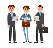 Business affairs, businessmen holding documents vector. Partners looking at details of contract, deal of company directors accomplices. People at work poster