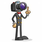 Camera Head Paparazzi Cartoon Character with a dslr for a head with a real eye for composition poster