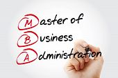 MBA - Master of Business Administration with marker, acronym business concept poster