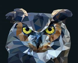 Owl In Low Poly Style. Vector Illustration.