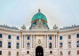 Vienna/ Austria -  October 10 2014: Hofburg palace facade close up, view from Michaelerplatz