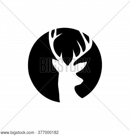 Icon Black Sign Deer In Circle. Vector Illustration Eps 10