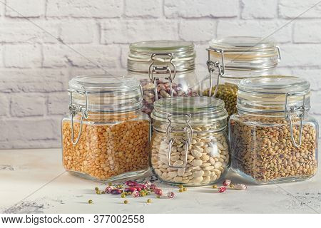 Glass Jars With Various Legumes - Beans, Mung Bean, Peas And Len