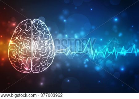 Abstract Brain Wave Concept On Blue Background Technology, Digital Illustration Of Human Brain Struc