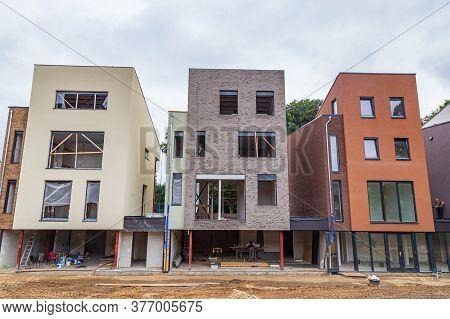 Arnhem, Netherlands - July 17, 2020: Modern Mansion Houses Under Construction In Suburb Klarenbeek I