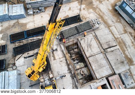 Factory For The Production Of Reinforced Concrete Piles. You Can See The Site For Pouring Concrete,