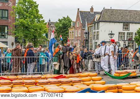 Alkmaar, North Holland / Netherlands. June 11th. 2016. Dutch Cheese Market With A Large Crowd, Chees