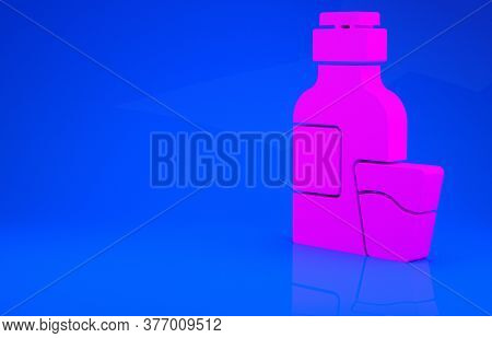 Pink Bottle Of Medicine Syrup And Dose Measuring Cup Solid Icon Isolated On Blue Background. Minimal