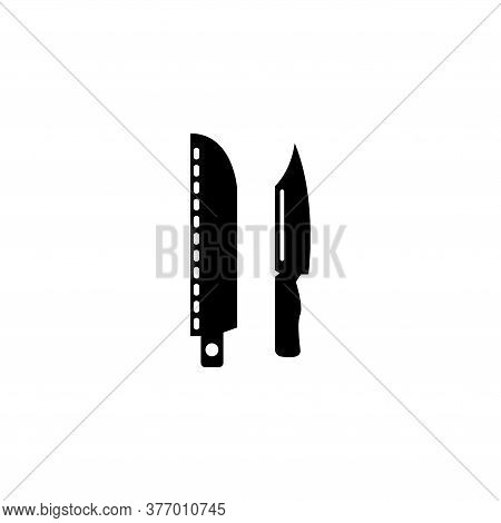 Army Military Knife, Hunting Blade Holster. Flat Vector Icon Illustration. Simple Black Symbol On Wh