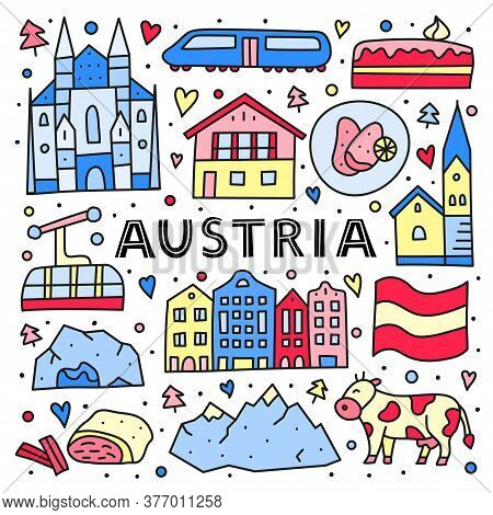 Poster With Lettering And Doodle Colored Austria Icons Including Vienna Cathedral, Train, Chalet Hou
