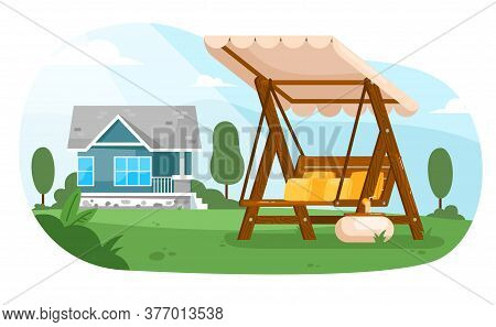 Garden Swing. Empty Wooden Swing Bench Seat Furniture With Canopy, Table And Cushions In Summer Back