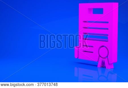 Pink Declaration Of Independence Icon Isolated On Blue Background. Minimalism Concept. 3d Illustrati