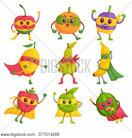 Super Hero Fruit. Comic Cartoon Characters In Masks And Capes Set. Brave And Funny Super Hero Fruits