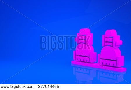 Pink Snowboard Icon Isolated On Blue Background. Snowboarding Board Icon. Extreme Sport. Sport Equip