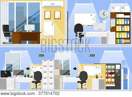 Empty Office Interior. Two Floor Office Room Space With Desk, Empty Chair, Computer, Marker White Bo