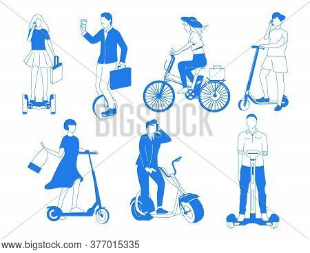 Electric Transport. Personal Mobility Transport With City Bicycle, Skate And Other Eco Vechile For U