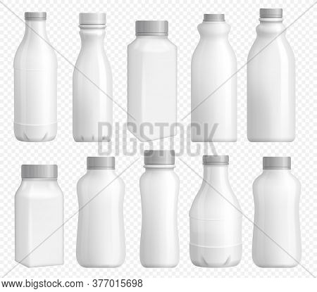 Milk Bottle Plastic. Blank Package With Cap For Dairy Product. White Yogurt Bottle Template And Milk