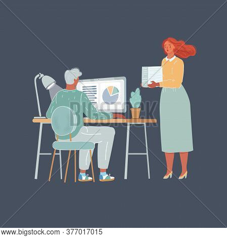 Vector Illustration Of Woman And Man At Work. Unequal Pay For Labour Of Man And Woman Concept On Dar