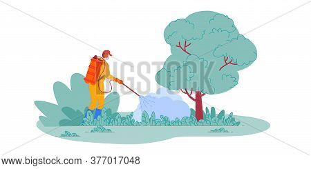 Pesticide Spraying. Isolated Farmer Spraying Pesticide Chemicals On Plants In Garden. Pest Control W