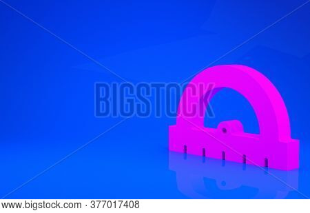 Pink Protractor Grid For Measuring Degrees Icon Isolated On Blue Background. Tilt Angle Meter. Measu