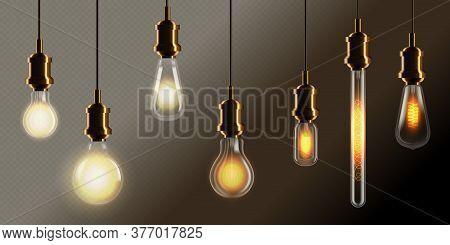 Incandescent Lamp. Realistic Vintage Incandescent Lamp On Wire Set. Glowing Filament Edison Light Bu