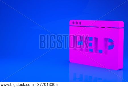 Pink Browser Help Icon Isolated On Blue Background. Internet Communication Protocol. Minimalism Conc