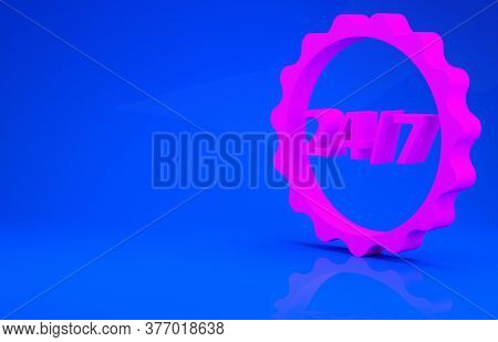 Pink Clock 24 Hours Icon Isolated On Blue Background. All Day Cyclic Icon. 24 Hours Service Symbol.