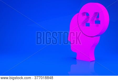 Pink Support Operator In Touch Icon Isolated On Blue Background. Concept For Call Center, Client Sup
