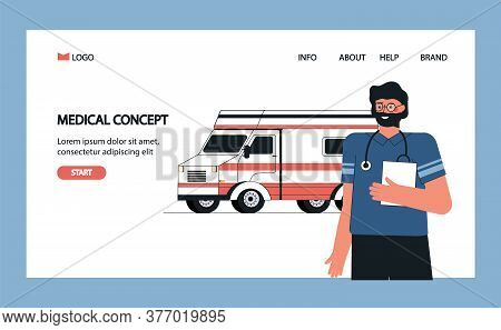 Health Insurance Concept, Ambulance Transport, Medical Service And Insurance. Trendy Modern Vector I