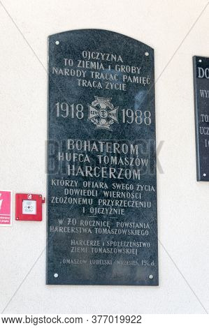 Tomaszow Lubelski, Poland - June 12, 2020: Plaque Commemorating The Heroes Of The Tomaszow Army.