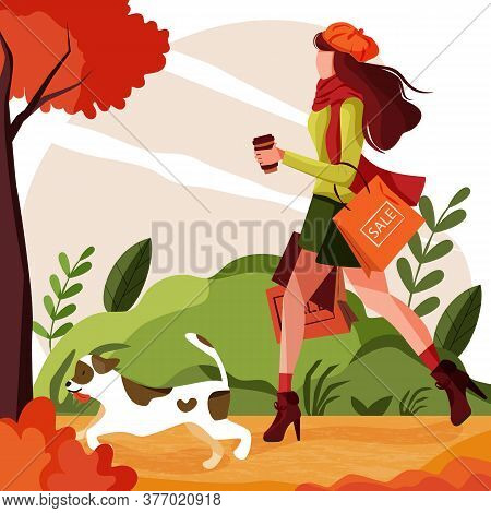 Girl Walks With Dog In Park With Shopping Bags In Autumn Woods. Concept Pretty And Fashionable Woman