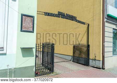 Tomaszow Lubelski, Poland - June 12, 2020: Entrance To Memorial Room For Communist Terror.