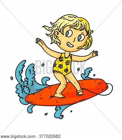 Kid Surfing. Isolated Child Girl Surfing On Surf Board On Sea Or Ocean Wave. Vector Kid Person Carto