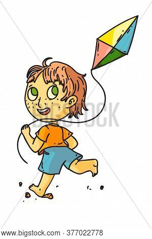 Kid Flying Kite. Isolated Cute Child Boy Running And Flying Kite Toy. Vector Happy Kid Person Cartoo