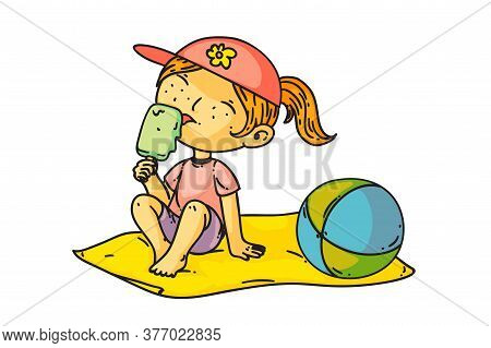 Kid Eating Ice Cream. Isolated Cute Child Girl Sitting On Beach And Eating Ice-cream. Vector Happy K