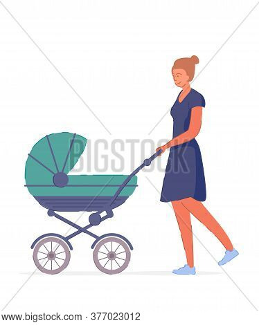 Mother Stroller. Happy Smiling Young Mother Character Strolling Newborn Baby In Pram Isolated On Whi