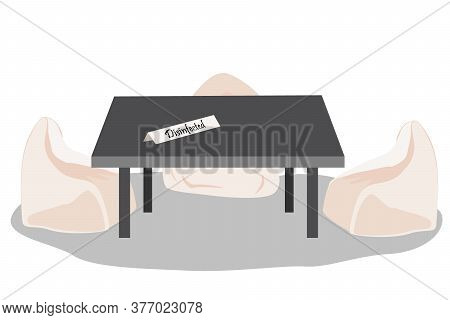 Cafe Or Restaurant Chairs And Table With Disinfected Sign. Public Places Disinfection In Covid 2019