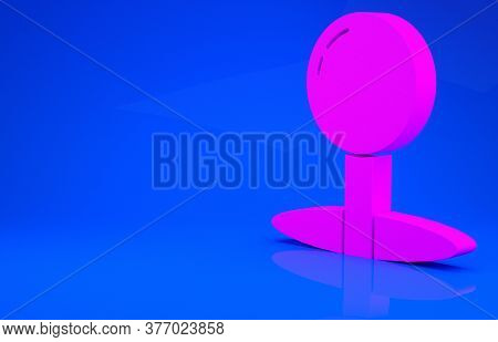 Pink Push Pin Icon Isolated On Blue Background. Thumbtacks Sign. Minimalism Concept. 3d Illustration