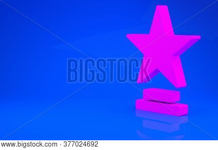 Pink Movie Trophy Icon Isolated On Blue Background. Academy Award Icon. Films And Cinema Symbol. Min