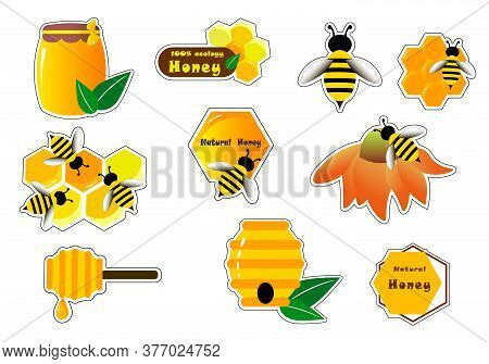 Stickers With Bees, Wasps And Honey. Bright Labels For Shops, Farms. Vector Illustration.