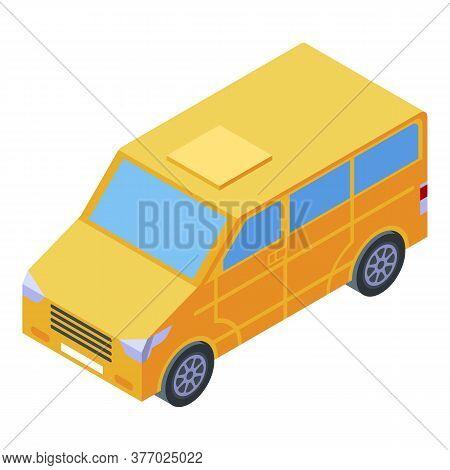 Yellow Family Van Icon. Isometric Of Yellow Family Van Vector Icon For Web Design Isolated On White