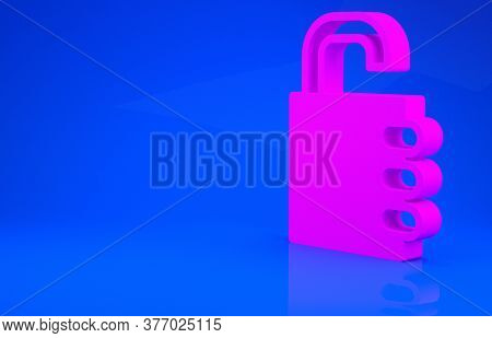 Pink Safe Combination Lock Icon Isolated On Blue Background. Combination Padlock. Security, Safety,