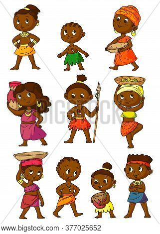 African People. Man, Woman, Children Character In Traditional Tribal Clothes Set Isolated On White B
