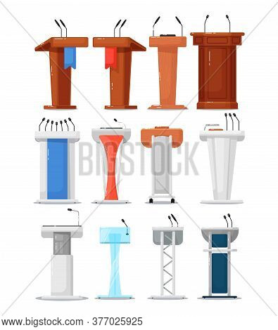 Tribune Icon Set. Isolated Debate Podium Tribune With Microphone Icon Collection. Vector Wooden And