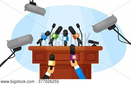 Press Conference. Isolated Empty Tribune And Journalist Hands Holding Microphones. Vector Mass Media