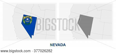 Two Versions Of The Map Of Us State Nevada, With The Flag Of Nevada And Highlighted In Dark Grey. Ve