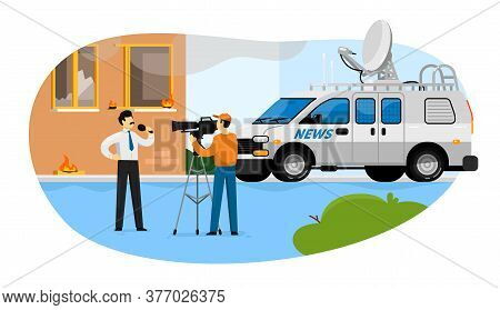 News Reporting. Journalist Man With Microphone Reporting House On Fire Vector Illustration. Live Bre